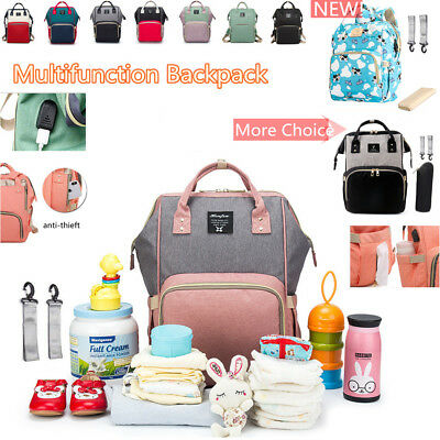 USB Mammy Large Capacity Baby Diaper Nappy Changing Bag External Travel Backpack
