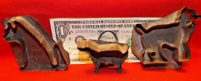 2 Dogs& 1 Cat NICE (3) Flat Back Soldered Tin Cookie Cutters (Circa 1900's)