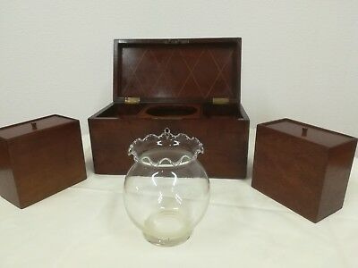 19th Century mahogany Tea Caddy With Mixing Bowl, Antique caddie