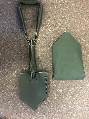 British Army Issued Folding Entrenching Tool And Cover