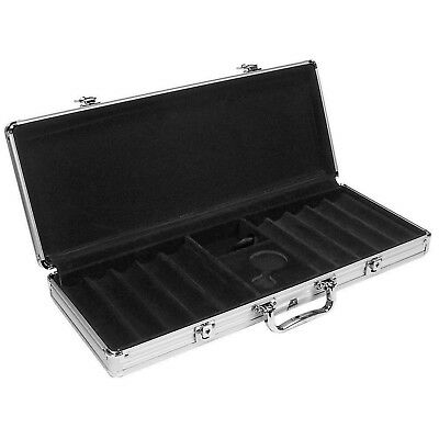 500 Capacity Aluminum Poker Chip Case - Black Interior 10 Rows Holds Cards