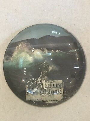 1908 First National  Bank Of Tullahoma Tenn. Large Glass Paperweight