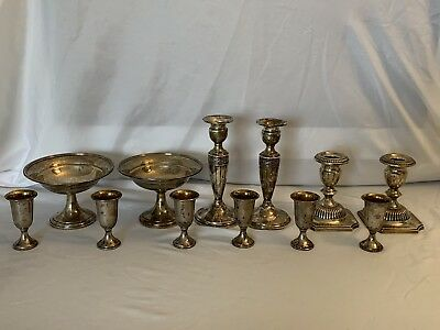 Mixed Lot of Scrap Sterling Silver Weighted Candle Holders, Bowls, Cups 1641 G