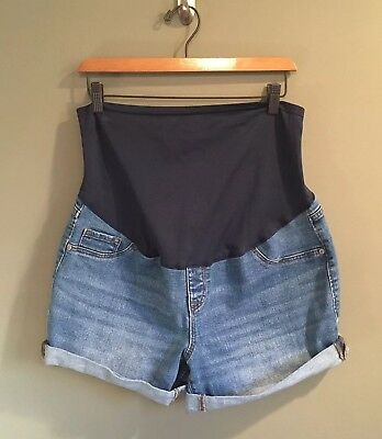 e91dd293c4805 Old Navy Maternity Jean Denim Shorts Cuffed Mid Wash Full Belly Panel Size  14