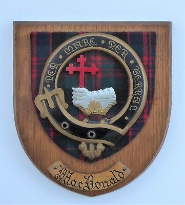 Vintage Clan Macdonald Tartan Crest Motto Wooden Plaque Scottish Heritage