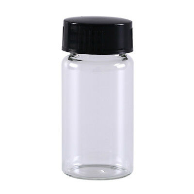 1pcs 20ml small lab glass vials bottles clear containers with black screw cap TE