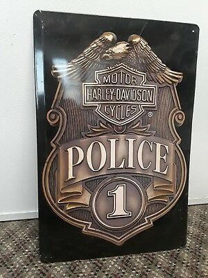 Harley davidson police badge metal sign