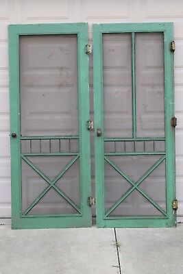 Vintage Pair of Antique Wood Farmhouse Screen Doors salvaged