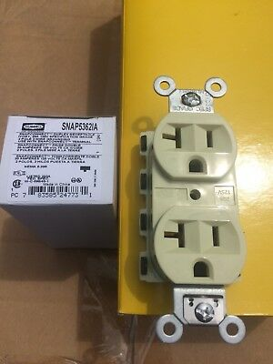 Hubbell SNAP5362IA 20A 125V Ivory Snap Connect Duplex Receptacle Qty - 1