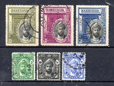 small collection of 6 used from zanzibar. 1926/1936