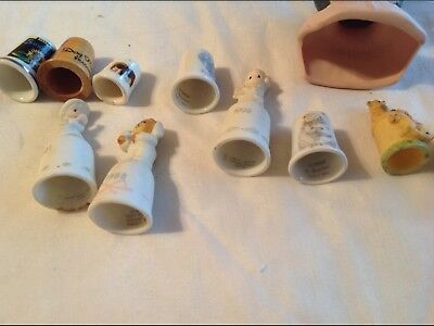 Lot Of 10 Decorative Thimbles Precious Moments Enesco and others, & 1 doll head