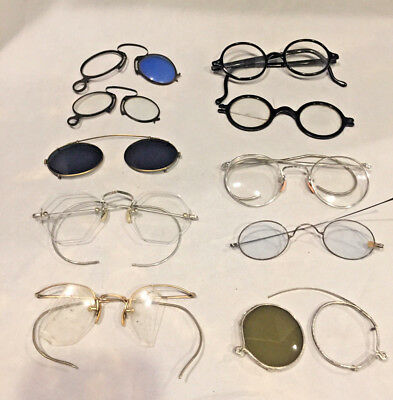 Lot of vintage glasses: Harry Potter style, sunclip, pince-nez, readers, cable