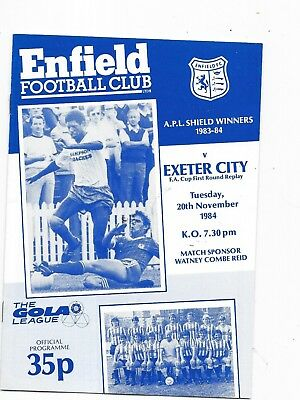 Enfield v Exeter City FA Cup 1st Round Replay 20/11/1984