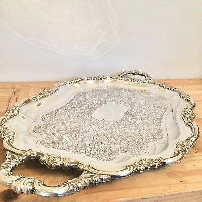Large Antique Silver Plated Butlers Gallery Serving Tray Double Handles 69x39cm