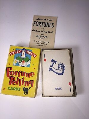 Vintage c.1940's Gypsy Queen Fortune Telling Cards AN All-Fair Game Tarot BOX