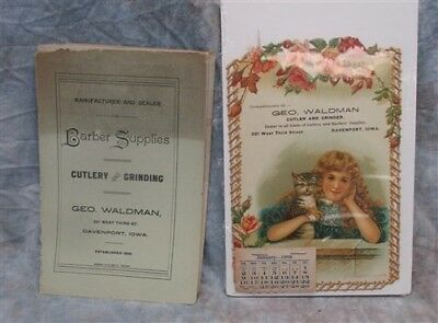 1898 Waldman Cutlery Grinder Barber Supply Catalog Brochure Davenport Iowa Sign