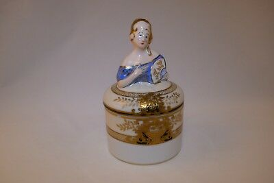 Figural Noritake Lady Powder Box or Covered Jar Green Komaru Backstamp