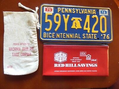 PENNSYLVANIA vintage items banks & 1976 bicentennial license plate