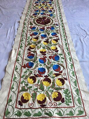 Beautiful Antique Uzbek Vintage Original Wall Decor Hand Embroidered Suzani