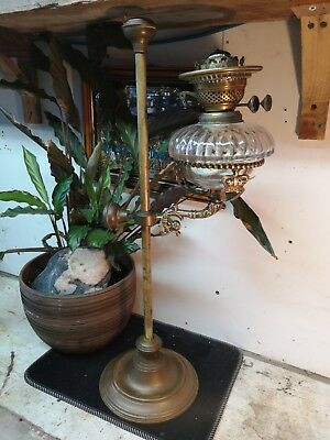Original Antique Victorian Tall Solid Brass Crown Design Drop In Oil Lamp Base