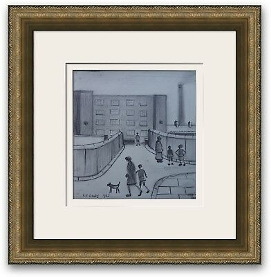 ORIGINAL Vintage Drawing Northern Impressionist Signed and dated L S Lowry 1962