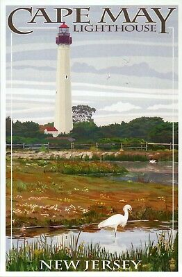 Cape May Lighthouse New Jersey NJ State Park Light, Egret Bird - Modern Postcard
