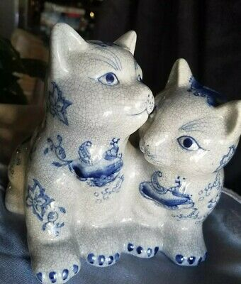 "2 Kittens figurine Formalities by Baum Bros grey and Blue 7"" tall, beautiful"