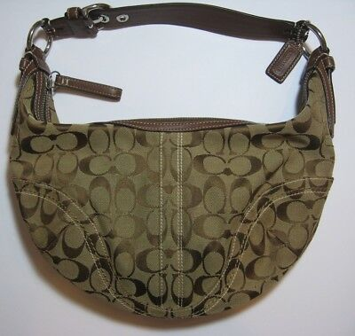 7d07cd8a30 Coach Signature Soho Canvas Shoulder Bag 10074 Purse Handbag Hobo Brown    Tan