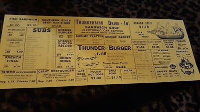 Vintage Thunderbird Drive In Dairy Queen Baltimore Md. Menu Double Sided