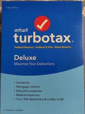 Intuit TurboTax Deluxe 2018 Federal & State Returns CD Windows/Mac New