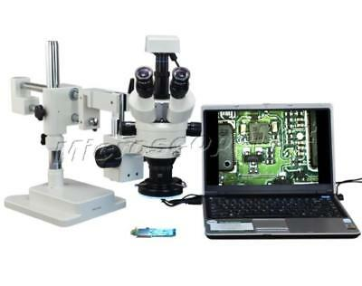 2X-90X Stereo Zoom Dual-arm Boom Stand Microscope+144 LED Light+3MP USB Camera