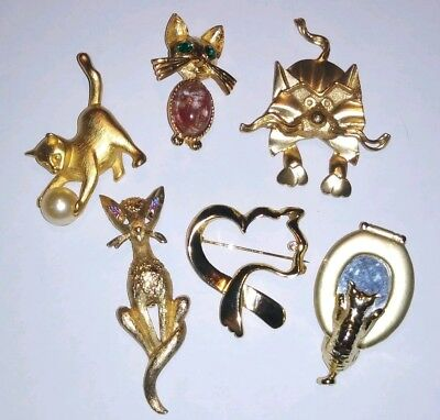 Vintage Estate Gold Tone Figural Kitty Cat Feline Pin Brooch Lot Animal Pet
