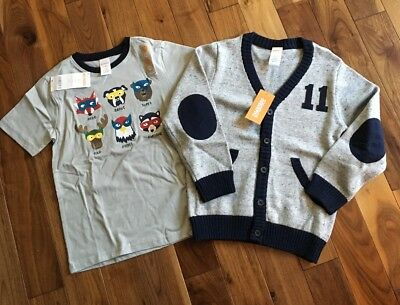 NWT Gymboree Boy's Lot Size 5T Ringer Tee and Varsity Sweater Gray Navy