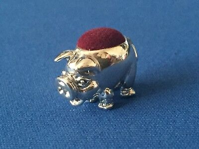 Pig Pin Cushion Victorian Style Small Sterling Silver  .925