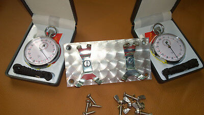 Dash Stopwatchs + Holder Twin panel, Historic Rally Engine turned pattern