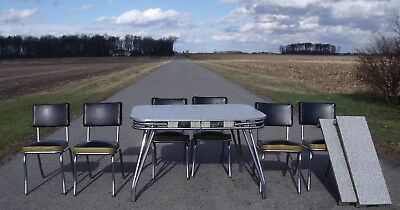 Vtg RETRO 50's atomic Chrome dinette set 6 chairs kitchen table 2 leaves Formica