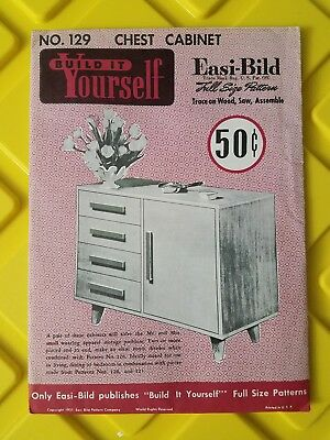 Vintage Build It Yourself Easi-Bild Patterns 1951 chest cabinet no. 129