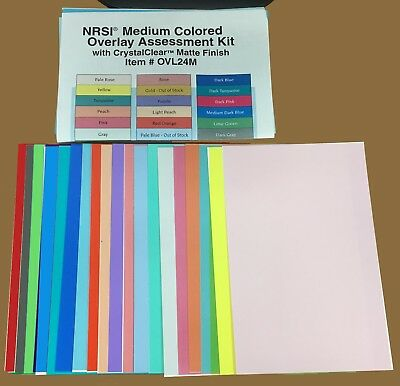 NRSI Medium Colored Overlay Matte Finish Transparency Fitler Set for Reading
