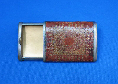 Slide type match safe, tooled leather wrap, plated brass, c. 1900