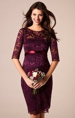 Tiffany rose maternity dress Size 3 UK 12-14 Lace Claret Colour