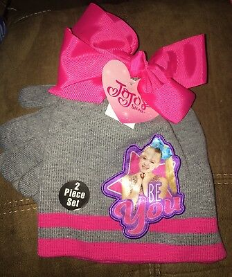 b3e0f1d5390c0 New JoJo Siwa Winter Beanie Hat with Bow and Mitten Glove Set Pink Grey Be  You