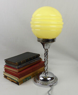 Original Art Deco Chrome Barleytwist Table Lamp. Saturn Glass Globe Shade