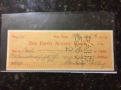 Bainbridge Colby Secretary of State 1920-1921 signed check dated May 26th 1933