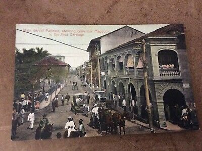 Panama Main Street Showing Governor Maggoon In Carriage Antique Postcard 1908 38
