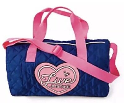 1896ed02e6 New LIVE JUSTICE Girls Duffel Duffle Bag Blue Hot Pink Travel Gym Dance  Quilted
