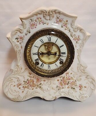 Antique Ansonia Ceramic Mantel Clock Pink Floral Design Runs Great