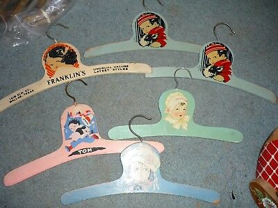 8 vintage LOT Nursery Rhyme Wooden hand painted HANGERS For Kids Dolls Clothing