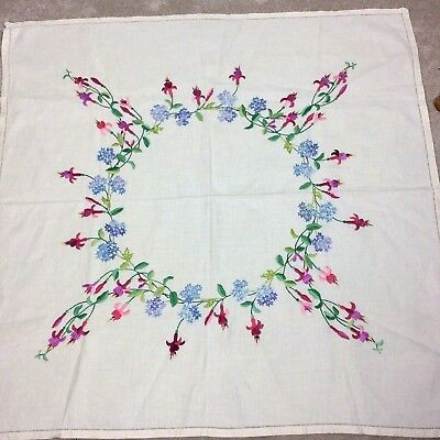 Vintage Hand Embroidered Tablecloth Fuchsia's  forget me nots Floral unused