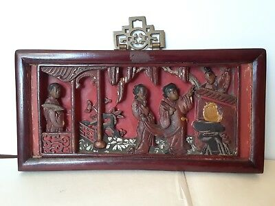 4 Antique Chinese wood carving relief red blk Copper Gilt Wall Panel Plaques