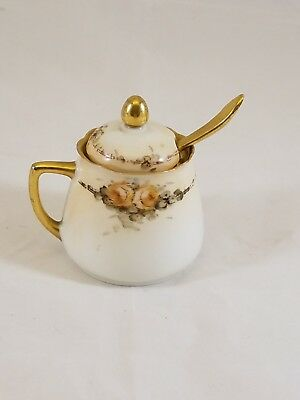 vintage Silesia mustard pot, lid, and spoon